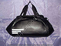 Cумка Adidas 113889 женская спортивная черная с белой надписью из гладкой PU-кожи плечевой ремень