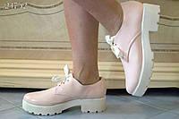 Стильные женские молодежные туфли ботинки шнуровка лак
