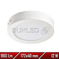 Светильник Led накладной, круглый, 220 В, 12 Вт,  Premium (50 000 ч)