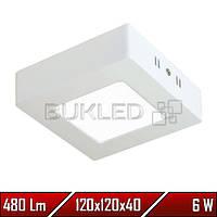 Светильник Led накладной, квадратный, 220 В, 6 Вт,  Premium (50 000 ч)