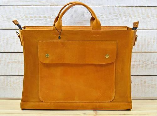 Вместительная женская сумка-хэндбэг из натуральной кожи GBAGS B003 рыжий