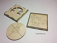 """Деревянная магнитная мозаика """"Кружок"""", в деревянной шкатулке, для подарка, рукоделия,"""