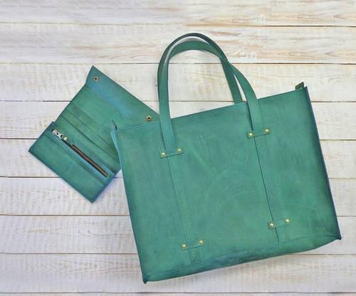 Оригинальная женская сумка из натуральной кожи GBAGS B013 изумрудный