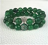 Браслет зелёный женский из зелёного нефрита BD7002