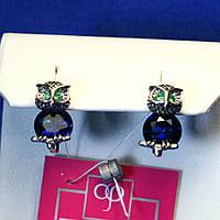 Оригинальные серьги серебро Сова с синими камнями 2033