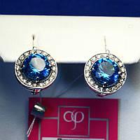 Ювелирные серебряные серьги с синим камнем, английский замок 21090