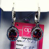 Красивые серебряные серьги подвески с красным камнем 21095