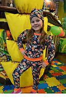 Красивый костюм для девочки с цветами из трикотажа хорошего качества