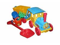 Поезд-конструктор с песочным набором №1 013222 Фламинго-Тойс голубой