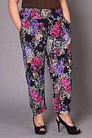 Летние брюки женские с цветами большие размеры
