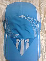 Голубая  бейсболка из плащевки с элементами сетки