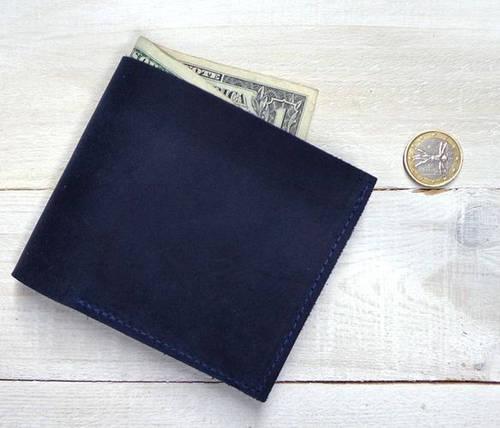 Актуальное портмоне из натуральной кожи GBAGS W022 синий