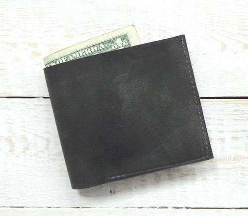 Практичное портмоне из натуральной кожи GBAGS W022 серый