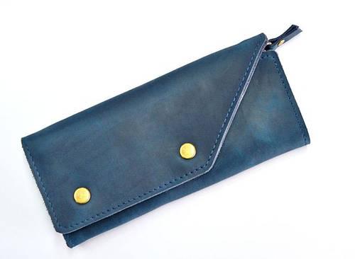 Яркое портмоне из натуральной кожи GBAGS W.0002-CH синий