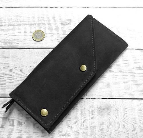 Строгое портмоне из натуральной кожи GBAGS W.0002-CH черный