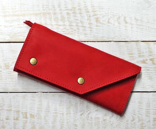 Шикарное портмоне из натуральной кожи GBAGS W.0002-ALI красный