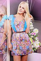 Летнее шифоновое платье IR Бабочка; цвета: принт цветы голубой | принт цветы бирюза | электрик | бирюза