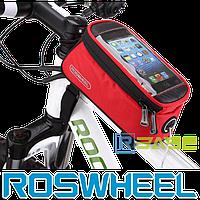 Велосипедная сумка на раму для смартфона Roswheel M Красная