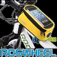 Велосипедная сумка на раму для смартфона Roswheel M Жёлтая