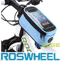 Велосипедная сумка на раму для смартфона Roswheel M Голубая