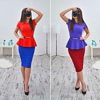 Костюм стильный модный деловой с баской и поясом в разных цветах SMB186