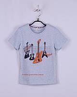 Детская футболка для мальчика с гитарами светло голубая, хлопковая Oven