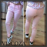 Модные джинсы женские Персиковые с дырками и без