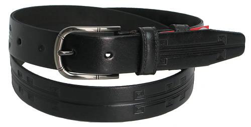 Брючный мужской кожаный ремень Skipper 5522 чёрный ДхШ: 121х3,5 см.