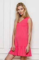 Летнее мини платье розового цвета свободного кроя