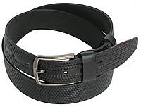 Мужской кожаный джинсовый ремень Skipper 5511-1 чёрный ДхШ: 126х4 см.