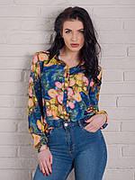 Стильная женская блуза синего цвета с цветами Версаче