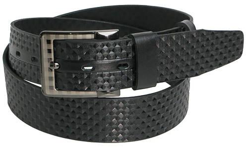 Ремень мужской кожаный под джинсы Skipper 5460 чёрный ДхШ: 130х4,5 см.