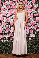 Романтичное платье в пол бежевого цвета