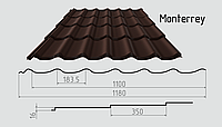Металлочерепица монтеррей RAL8017 (шоколадно-коричневый)