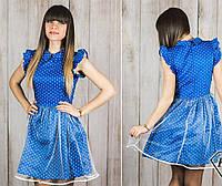 Платье с юбкой -клеш из легкого джинса