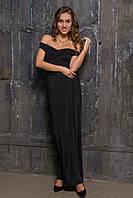 Длинное вечернее платье черного цвета с открытыми плечами