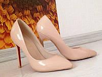 Женские туфли лодочки в стиле Christian Louboutin бежевого цвета