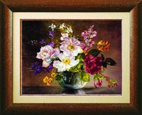 Схема для вышивания бисером на авторской канве букет цветов