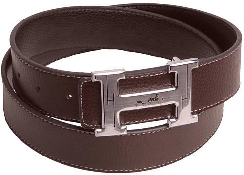 Кожаный мужской ремень под джинсы с логотипом Hermes 2746 коричневый с белой ниткой ДхШ: 114х4 см.