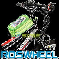 Велосипедная сумка на раму для смартфона Roswheel M Polka Green