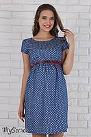 Легкое платье для беременных и кормящих Celena, сердечки на синем