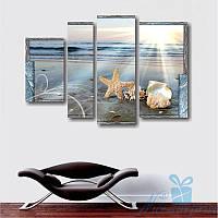 Модульнакая картина Морская звезда в песке из 4 фрагментов