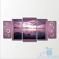 Модульная картина Морской пейзаж на рассвете из 5 фрагментов