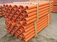 Труба ПВХ канализационная для наружной канализации от изготовителя. Труба ПВХ D=110 мм стенка 2,7 мм оранжевого цвета.