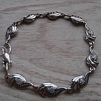 Фантастический серебряный женский браслет с фианитами, 180мм