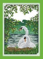 """Набор для вышивки крестом с печатью на ткани 14ст  """"Белые лебеди (2)"""""""