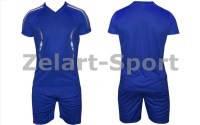 Форма футбольная без номера подростковая CO-3123-В (PL, р-р S-L, синяя, шорты синие)
