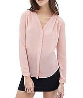 Стильная женская шифоновая блузка нежного розового цвета