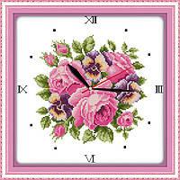 """Набор для вышивки крестом с печатью на ткани 14ст  """"Часы. Аромат роз 2 """""""