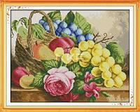 """Набор для вышивки крестом с печатью на ткани 14ст  """"Розы и фрукты в корзине """""""